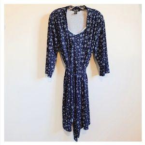 RENÈ ROFÈ Floral Robe and Nightgown Navy Blue EUC